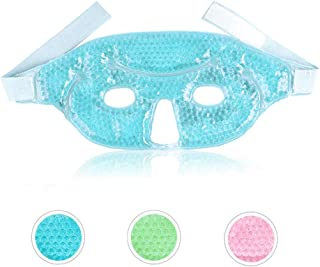 Gel Mask Cooling Face mask Reusable Cooling Eye Mask for Puffy Eyes, Allergies, Freezer Face Mask with Gel Bead for Swollen, Dry or Itchy Eyes - Blue