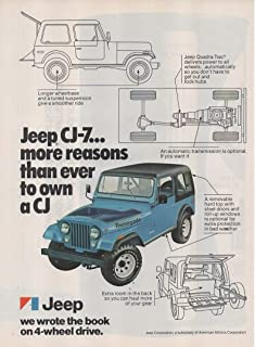 """Magazine Print Ad: Blue 1977 Jeep CJ-7,""""More Reasons Than Ever to Own a CJ.Jeep Wrote The Book on 4-Wheel Drive"""""""