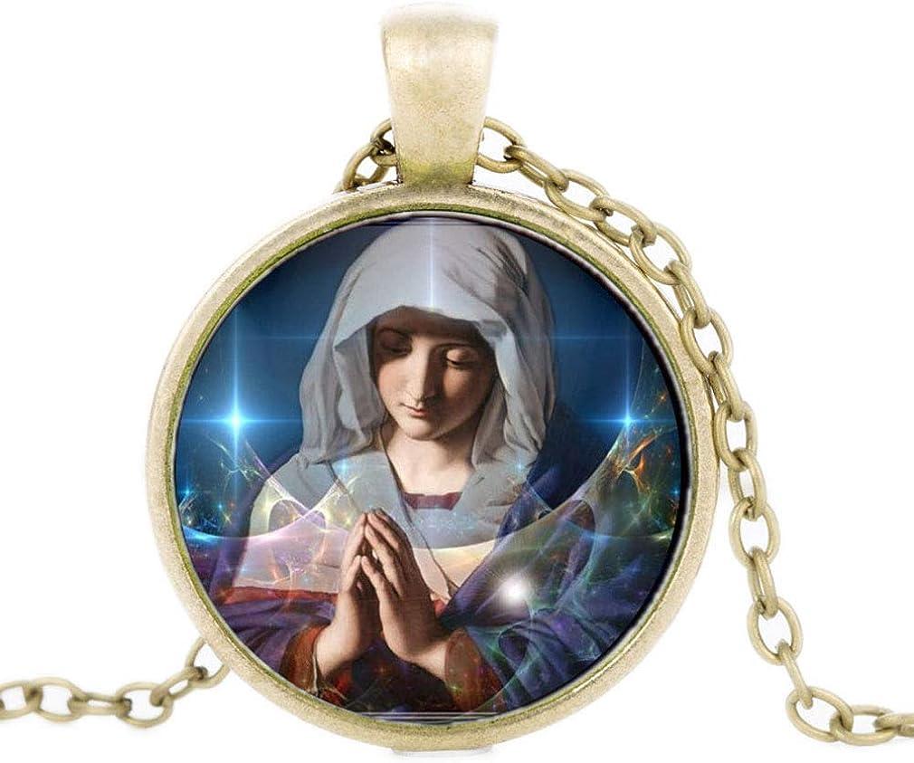 FOY-MALL Bronze-Tone Metal Time Gem Christian Virgin Mary Pendant Necklace XL1554N