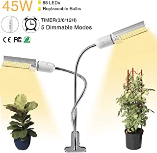 45W LED Grow Light,88 LED Full Spectrum Sun Like Grow Lamp Adjustable 3 Modes Timer(3H/6H/12H) Dimmable 5 Levels with Easy Set Clamp&360 Degree Flexible Gooseneck for Indoor Greenhouse Hydroponic Plants Seeding,Growing,Flowering(USB+Adapter)