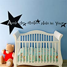 Zaidao Vinyl Peel and Stick Mural Removable Wall Sticker Decals French Quote Avoir Des Étoiles Plein Les Yeux for Nursery Kids Room Boys Girls Room
