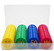 Zhou Yunshan Uego de póker de Casino Dedicado Chip de la Tarjeta de Sala de ajedrez Mahjong Sala de plástico con Monedas de Aprendizaje Recompensa Juego Integral Coin Set 160 Piezas