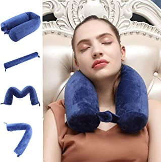 Cotton Li SA Neck Pillow for Travel Home, Portable Head Cervical Support Rest Cussion Twist Adjustable Bendable Memory Foam Roll Pillow for Flight/Road Trips, Office Nap, Camping - Blue