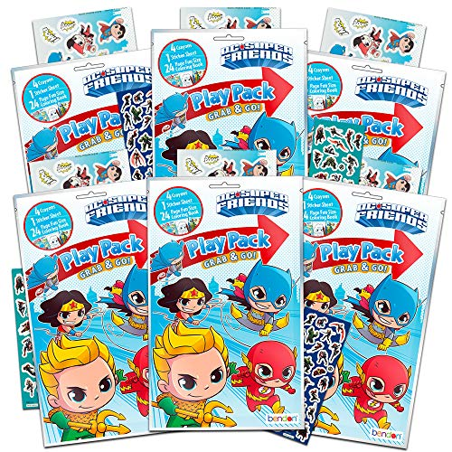 DC Comics Super Friends Party Favor Packs Super Set ~ Bundle of 6 Superhero Coloring Books with Crayons and Over 450 Stickers (Super Friends Party Supplies)