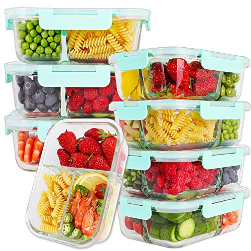 Bayco 8 Pack Glass Meal Prep Containers 3 Compartment, Glass Food Storage Containers with Lids, Airtight Glass Lunch Bento Boxes, BPA-Free & Leak Proof (8 lids & 8 Containers)