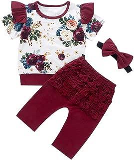Kids Baby Jungen Outfits Set Einfarbig Falten T-Shirt Tops Blume Shorts Cwemimifa Baby Kleidung