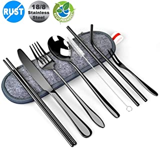 Travel Utensils,BEQOOL 10 PCS Black Silverware Set 18/8 Stainless Steel Flatware Set Travel Camping Cutlery Set Reusable Utensils with case Include Spoon, Fork, Knife,Straws,Chopsticks(Red Hand Strap)