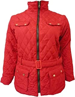 c5a91e37 New Womens Plus Size Belted Padded Full Zip Winter Jacket Quilted Coats 8-26