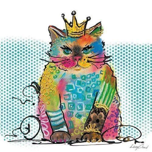 Keilrahmen-Bild - Lucy Cloud: Cat Diva 40 x 40 cm Leinwand Katze bunt Pop
