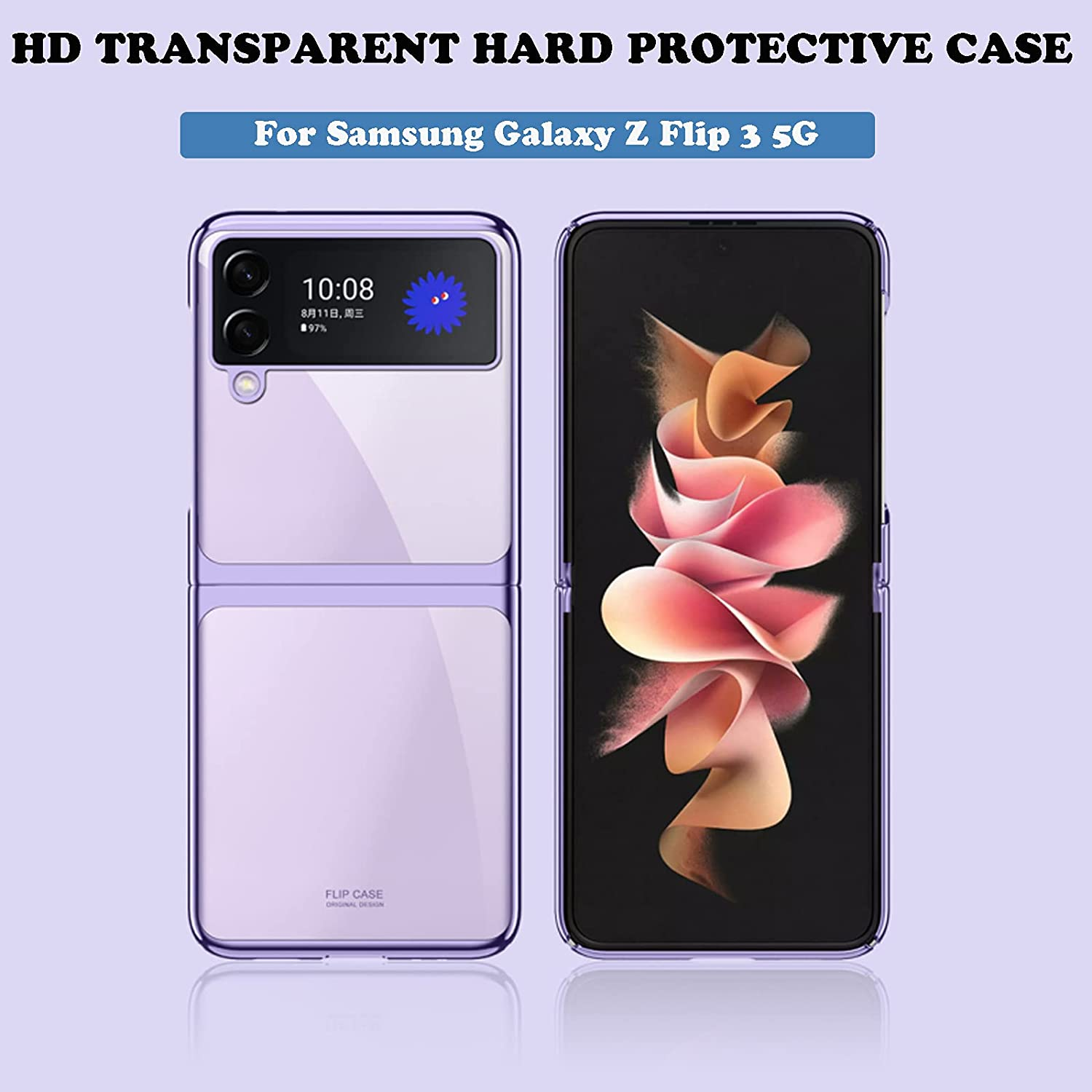 Phone Case Compatible with Samsung Galaxy Z Flip 3 5G Case Cover 2021, for Galaxy Z Flip3 Protective Cover Shell Slim Durable, Zflip3 Case Crystal PC Hard Shockproof for Samsung Z Flip 3 Clear Case