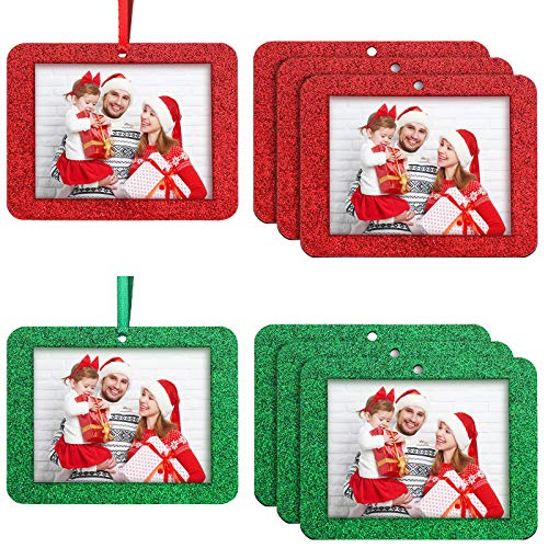 Jetec 36 Pieces Christmas Photo Ornament Frames Mini Felt Glitter Hanging Photo Frame Small Holiday Frames Christmas Tree Decoration for Present Christmas Tree Picture Frames (Red, Green)