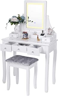 BEWISHOME Vanity Set with Lighted Mirror Dimming, Touch Screen Switch & Cushioned Stool Dressing Table Makeup Vanity Makeup Table 5 Drawers 2 Dividers Removable Organizers White FST07W