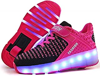 7 Colors LED Rechargeable Kids Roller Skate Shoes with Single Wheel Shoes Sport Sneaker