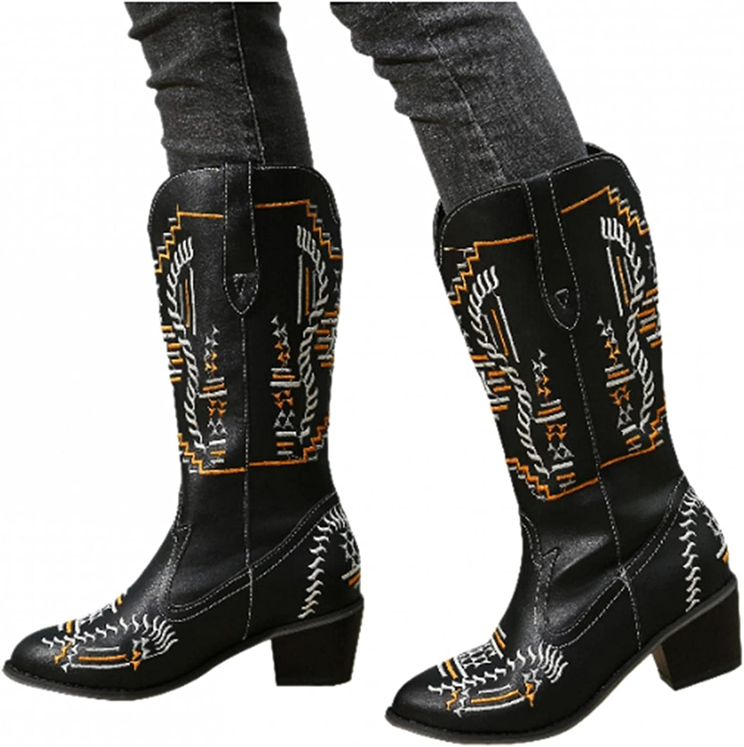 Gibobby Cowboy Boots for Women,Womens Embroidery Cowgirl Boots Mid Calf Boots Chunky Heel Retro Square Toe Slip On Boots
