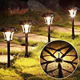 MAGGIFT 6 Pack 25 Lumen Solar Powered Pathway Lights, Super Bright SMD LED Outdoor Lights, Stainless Steel & Glass Waterproof Light for Landscape, Lawn, Patio, Yard, Garden, Deck Driveway, Warm White