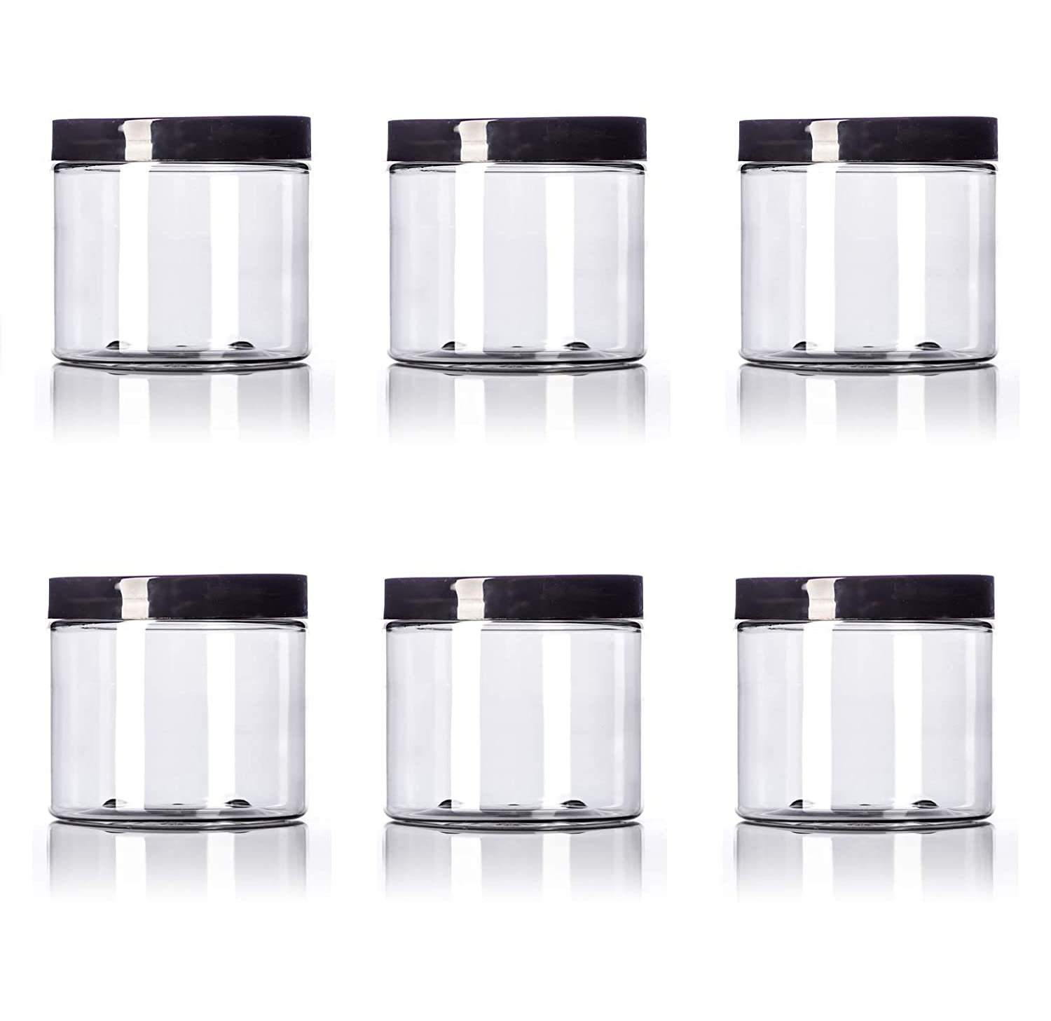 16 oz Big sold out Mouth Clear Plastic PET Smooth with - Popular overseas Lids Jar S Black