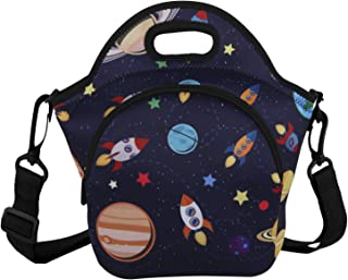 Violet Mist Unicorn Mermaid Neoprene Insulated Lunch Tote Bag Soft Large with Extra Pocket Detachable Adjustable Shoulder Lunchbox Handbags for Women Men Kids Girls Boys School(Space Rocket)
