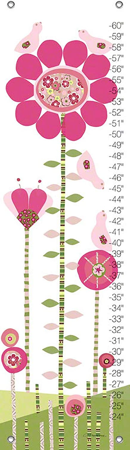Oopsy Daisy Afternoon Gossip, Pink and Green Growth Chart by Jen Christopher, 12 by 42 Inch