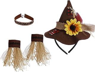 تومايبيبي 1 مجموعة هالوين الفزاعة أزياء قلادة قلادة الفزاعة قبعات معصم للبالغين