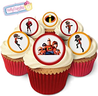 Holly Cupcakes 24 Fabulous Pre-Cut Edible Wafer Cake Toppers: The Incredibles