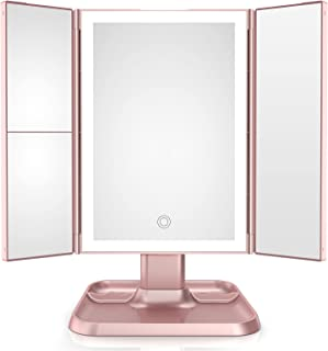 Makeup Mirror Trifold Vanity Mirror with 72 LED Lights -1x/2x/3x Magnification , Touch Screen Dimming with 3 Color Lightin...