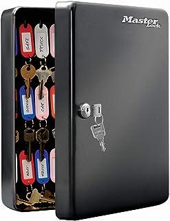 Master Lock KB-50Ml Armoire à Clés [Fixation Murale] [50 Crochets] - 50 Porte-Clés Inclus avec Étiquettes, Noir