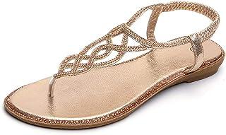 DressLksnf Sandalias de Vestir Mujer Verano Sandalias y Chanclas para niñas Zapatos de Planos Roma Sandalias de cuña Moda ...