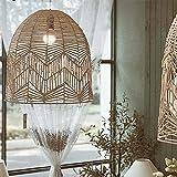 AoAobs Pendant Light Fixture, Handmade Rattan Woven Chandelier, Vintage Ceiling Lights Hanging Lamp For Living Room (50cm50cm, Natural Color)
