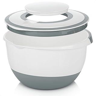 COM-FOUR® Bol mélangeur 5 l avec couvercle, saladier, bol de cuisson avec base d'arrêt, couvercle de protection contre les...