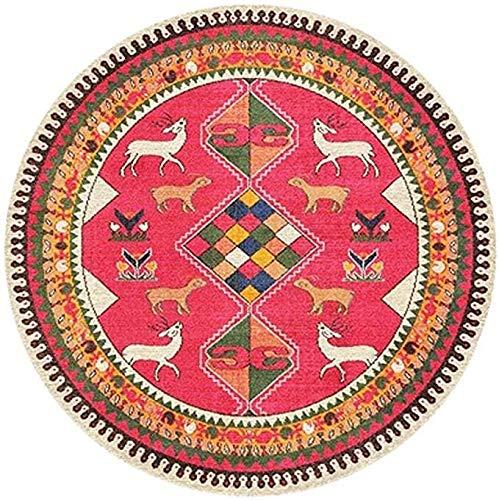 YiQin DiTan Alfombra de estilo étnico vintage lavable, redonda, para sala de estar, mesa de café, dormitorio, mesita de noche, alfombra para sala de estar (color #1, tamaño: 140 cm)