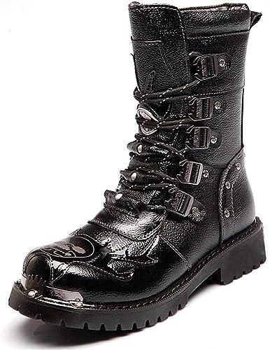 Hommes Martin Botte à La La La Main Britannique De Mode en Cuir Véritable Bottes Imperméables en Métal Accessoires Steampunk Chaussures Quatre Saisons Cowboy Bottes,43 401