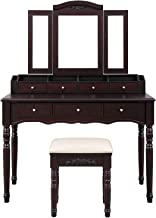 VASAGLE Vanity Set, Tri-Folding Necklace Hooked Mirror, 7 Drawers, 6 Organizers Makeup Dressing Table with Cushioned Stool Easy Assembly, for Women Girls Dark Espresso