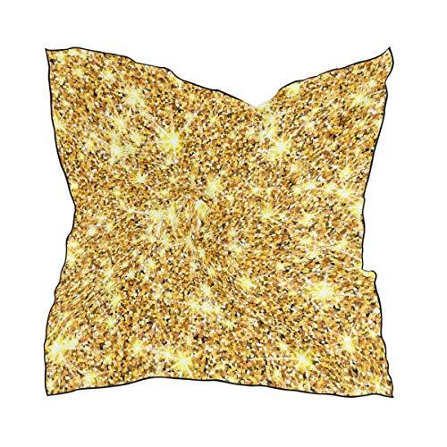 Ahomy - Bufanda cuadrada con purpurina dorada para mujer, cuello y cabeza,...