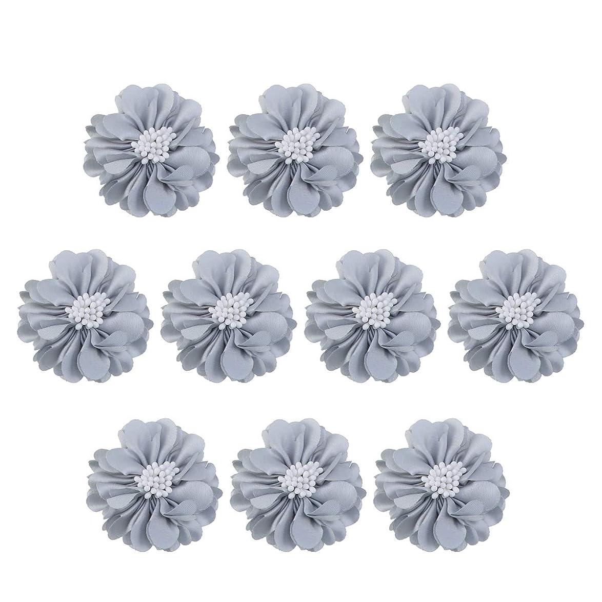 頂点友だち時計回りVosarea 10個装飾シフォン花平底美しいDIY手作りぼろぼろの花のヘアクリップヘアアクセサリー(ブルー)