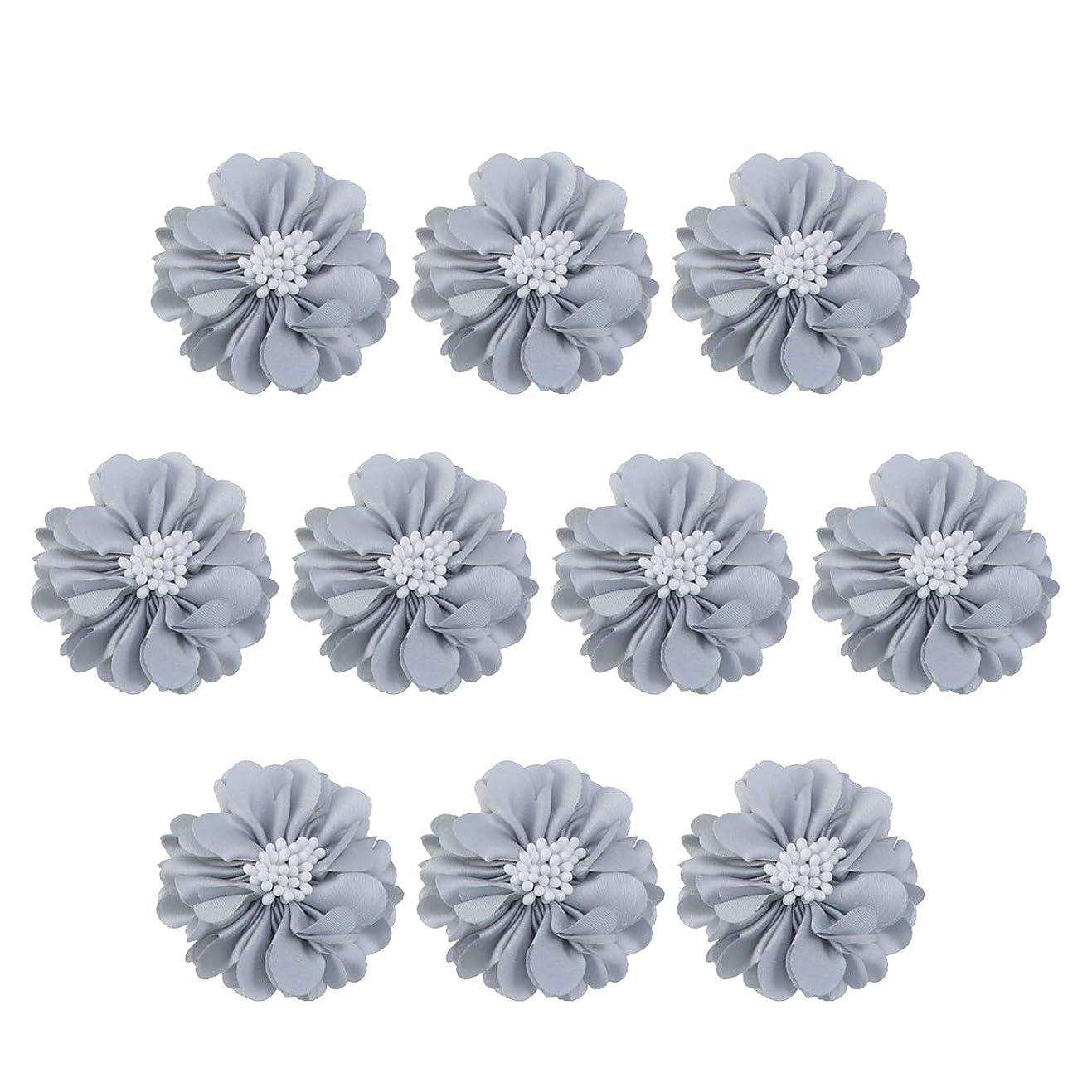 ツーリスト影響慈悲深いVosarea 10個装飾シフォン花平底美しいDIY手作りぼろぼろの花のヘアクリップヘアアクセサリー(ブルー)