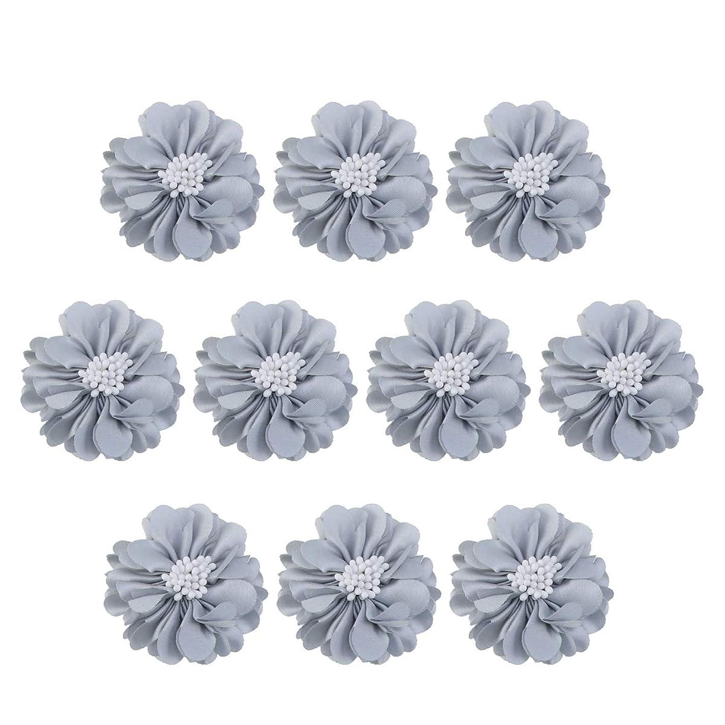 分析的グリットオーナメントVosarea 10個装飾シフォン花平底美しいDIY手作りぼろぼろの花のヘアクリップヘアアクセサリー(ブルー)
