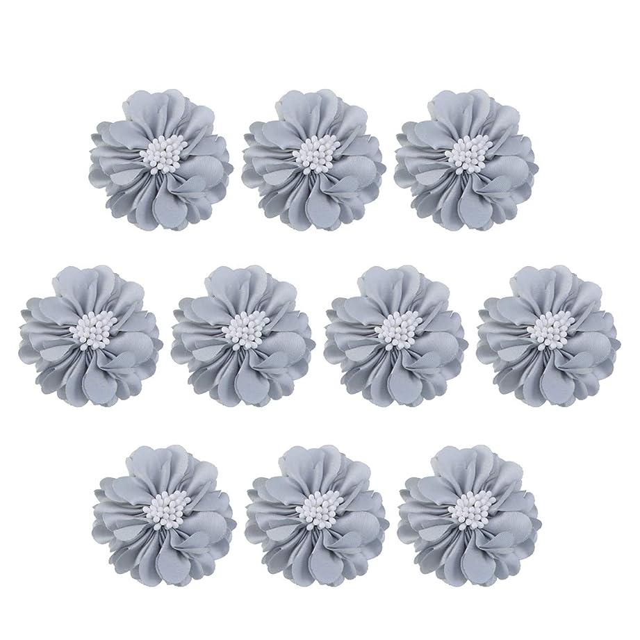 することになっている非常に怒っています酔ってVosarea 10個装飾シフォン花平底美しいDIY手作りぼろぼろの花のヘアクリップヘアアクセサリー(ブルー)