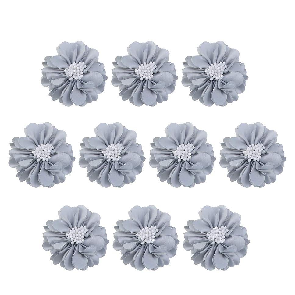 表向きフェード夜明けにVosarea 10個装飾シフォン花平底美しいDIY手作りぼろぼろの花のヘアクリップヘアアクセサリー(ブルー)