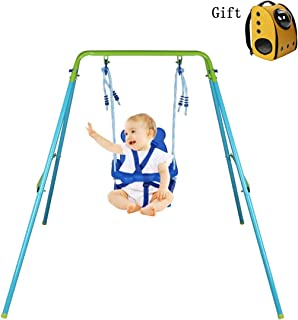HLC Folding Toddler Blue Secure Swing with Safety seat for Baby/chirldren's Gift