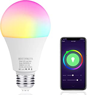 Smart WiFi Light Bulb E26 LED RGB Color Changing Bulb Dimmable Multicolor Bulb Work with Alexa, Echo, Google Assistant, No Hub Required, BESTINNKIT A19 RGBCW Bulb 9W, 80W Equivalent (9)