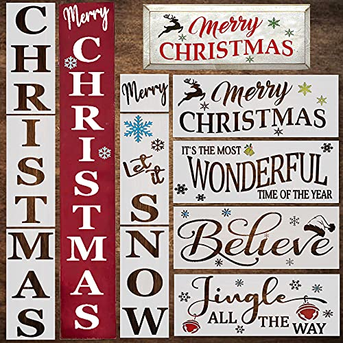 Christmas Stencils for Painting on Wood - Vertical Christmas and Let It Snow Sign - Reusable Templates with a Merry Christmas and a Believe Stencil - Large Holiday Stencils for Signs, Art & DIY Crafts