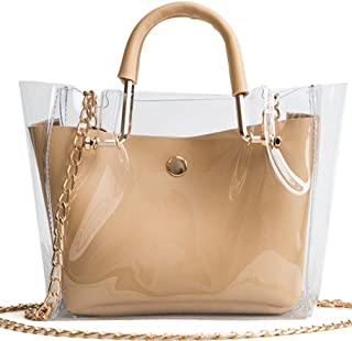 Skyseen Womens 2-in-1 Top Handle Clear Transparent Bag Shoulder Crossbody Purse