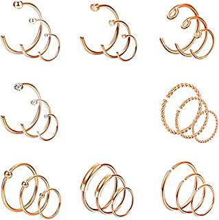 24PCS 20G Stainless Steel Nose Rings Hoop Cartilage Helix Tragus Piercing Body Jewelry