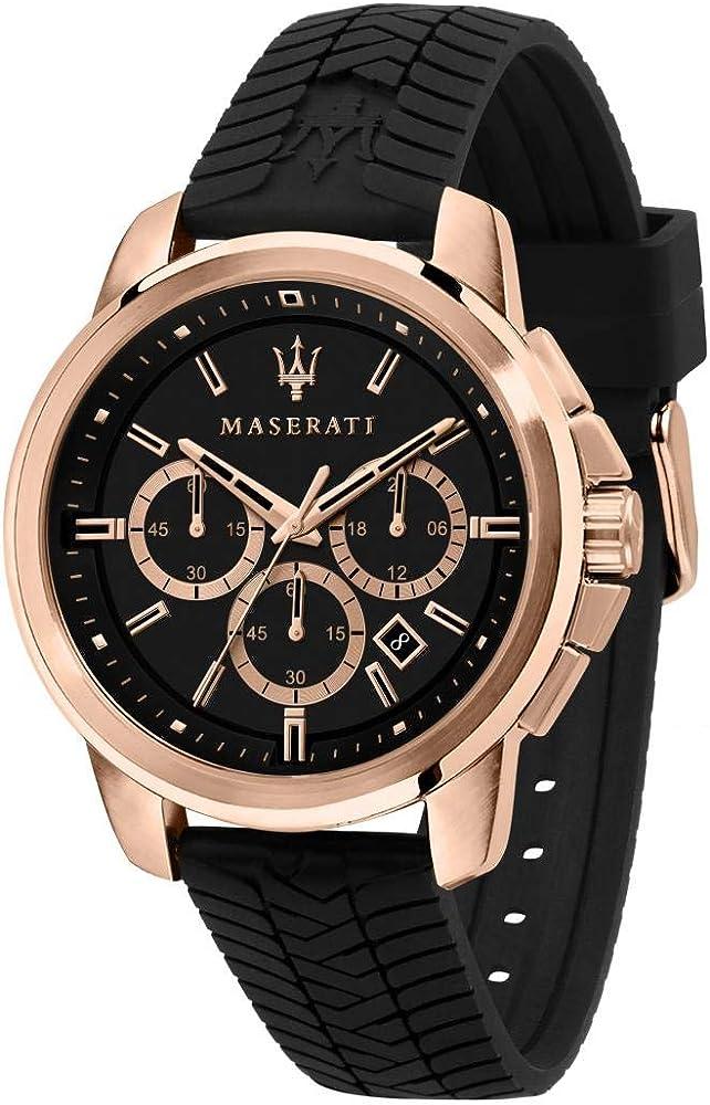 Maserati orologio cronografo da uomo, collezione successo, in acciaio, pvd oro rosa con cinturino in silicone R8871621012