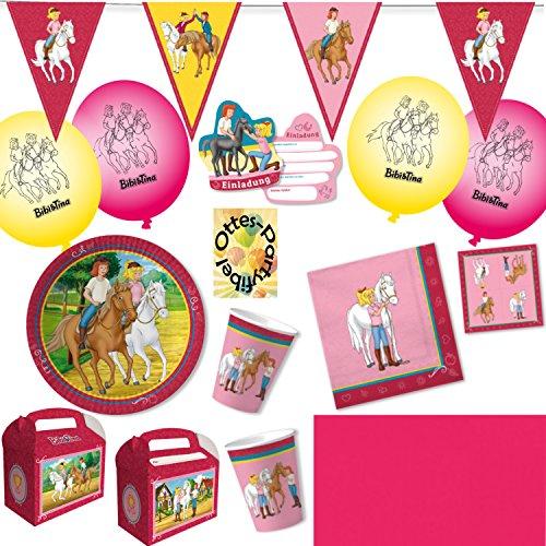 HHO Bibi Und Tina Party-Set 86tlg. für 12 Kinder : Teller Becher Servietten Einladung Geschenkboxen Tischdecke Luftballons Wimpelkette