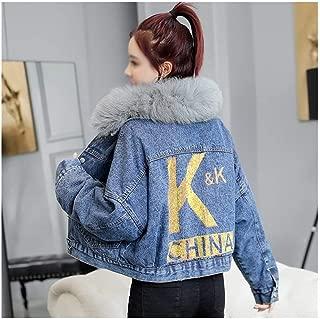 LUKEEXIN Womens Winter Plus Thick Velvet Short Denim Jacket Coat with Fur Hooded