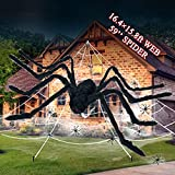 """Halloween Decorations, Halloween Giant Spider Web Outdoor Décor, 16.4x15.8 FT Triangular Spider Web with 59"""" Large Scary Spider, Super Stretch Cobwebs Set for Halloween Garden Yard Haunted House Decor"""
