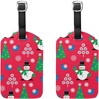 MASSIKOA Christmas Snowman Flower Bird Red Cruise Luggage Tags Suitcase Labels Bag,2 Pack