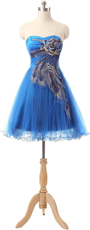 BessWedding Women's Knee Length Sleeveless Sweetheart Party Peacock Dress