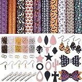 Kit de Fabrication de Boucles d'Oreilles avec Simili Cuir Tissu Thème Halloween, Crochets de Boucles d'oreilles, Anneaux de Saut, pour Boucles d'Oreilles en Cuir Arc Pinces à Cheveux Bricolage